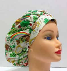 A personal favorite from my Etsy shop https://www.etsy.com/listing/181299864/womens-bouffant-surgical-scrub-hat-luck