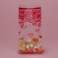 25 Valentines Day Cellophane party favor bags, Red Heart Treat Bag, Valentine gift Cello Bag. Etsy