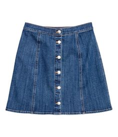 Dark denim blue. Short A-line skirt in washed stretch denim with buttons at front. Unlined.