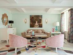 hellgrüne Wände eklektisches geräumiges Wohnzimmer ❤️Stil-Fabrik❤️