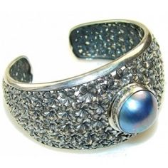 925 SOLID STERLING FINE SILVER NATURAL BEAUTY! FRESH WATER PEARL BRACELET / CUFF