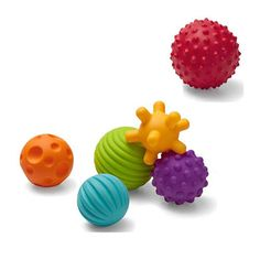 Sensory-stimulating ball set with bright colors and interesting textures! Perfect for developing baby's tactile sense and gross motor skills. #Baby #Infantino
