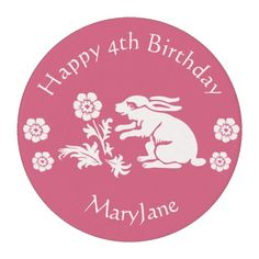 Vintage Rabbit - Decorate Girl's Birthday Cupcakes edible frosting rounds