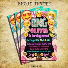 Emoji Invitation Emoji Icons Birthday Party Glitter Invite