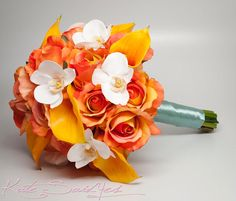 Items similar to Wedding Bouquet Burnt Orange Rose Calla Lily Orchid Wedding Bouquet Tropical Wedding on Etsy Orchid Bouquet Wedding, Rose Bouquet, Wedding Flowers, Ribbon Bouquet, Ribbon Rose, Calla Lillies, Calla Lily, Lilies, Bridal Shower Rustic