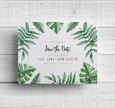 Leaf Wedding Save the Date, Botanical Wedding, Hawaii Wedding, Florida Wedding, Greenery, Tropical Wedding, Palm Leaves, Printed