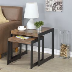 Millenial Collection Industrial Finish Nesting Tables - Set of 2