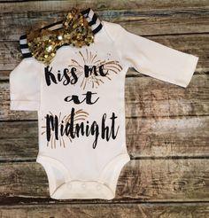 Baby Girl New Years Bodysuit, New Years Onesie, Kiss Me At Midnight, New Years Bodysuit, New Years Shirt,Girls Shirt by BellaPiccoli on Etsy https://www.etsy.com/listing/258019883/baby-girl-new-years-bodysuit-new-years