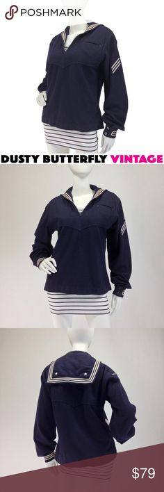 """VINTAGE SAILOR TOP Pullover WOOL MIDDY Crackerjack Super cool 60s sailor uniform """"crackerjack"""" top in navy blue wool w USS Henley patch. Timeless piece, great for fall & winter, matey ;)  •Authentic US Navy issue •Classic navy blue felted wool •Middy collar  •White stars & stripes trim •Anchor buttons at cuff •Breast pocket •Label numbers DSA 1-8008 date this 1965 •Made in the USA  *See 1st 2 comments for more info  👥Instagram: DustyButterflyVintage >Suggested User >Top Rated Seller >Fast…"""