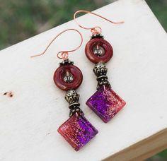 Ancient D'Light Brown Ceramic Purple Copper Resin Metal Bead Wire Wrap Earrings #Jeanninehandmade #Wrap