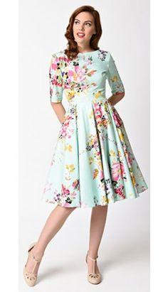 Vintage Mint Seville Floral Half Sleeve Hepburn Swing Dress