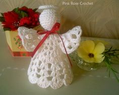 Pink Rose Crochet: Crochet Christmas ornament Angel Angel Shelf