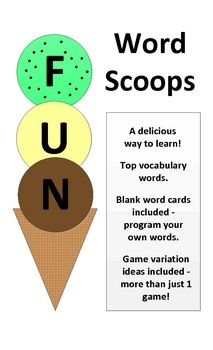 Make learning sight / spelling words fun with this ice cream themed word game!  Play with a partner or use it as a learning center with up to four ...