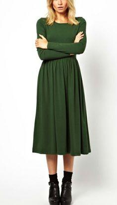 Green Long Sleeve Elastic Pleated Dress - Sheinside.com