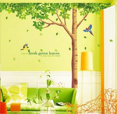 Removable Vinyl Tree Wall Decal Green Wall Art by CustomWallDecal, $59.98