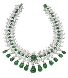 The Van Cleef & Arpels Indu necklace owned by the Maharani of Baroda, 1950. Emeralds and diamonds set in platinum.