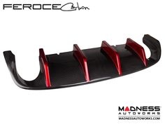 FIAT 500 ABARTH Rear Diffuser in Carbon Fiber by Feroce - Estremo Aerography - Red - FIAT 500 Parts and Accessories