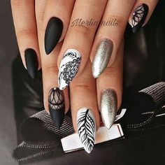 50 Pretty Nail Art Design Easy 2019 You Can Try As A Beginner 50 Pretty Nail Design Easy 2019 – Mode- und Glamour-Trends 2019 – Katty Glamour Pretty Nail Designs, Pretty Nail Art, Simple Nail Designs, Nail Art Designs, Floral Designs, Dark Color Nails, Nail Colors, Black Nails, Black And White Nail Art
