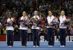 The 2012 USA Gymnastics women's Olympic team is formally introduced during the final night of competition at the Olympic Trials. From L to R: Gabby Douglas, Aly Raisman, McKayla Maroney, Jordyn Wieber and Kyla Ross. Us Olympic Gymnastics Team, Olympic Games Sports, Artistic Gymnastics, Olympic Team, Women's Gymnastics, Gymnastics Quotes, Olympic Athletes, Us Olympics, Summer Olympics