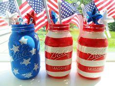 American Flag Hand Painted Mason Jars 4th of July Fireworks Patriotic Mason Jar Decor Holiday Decor Summer Celebration Stars and Stripes by KathiJanes on Etsy https://www.etsy.com/listing/193706971/american-flag-hand-painted-mason-jars