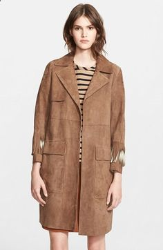 Belstaff Suede Trench Coat with Ombré Fringe available at #Nordstrom #personalstylist