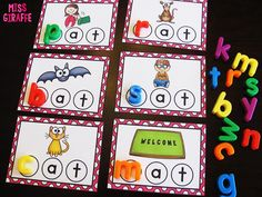 Word work ideas for kindergarten and first grade to practice reading CVC words while also practicing literacy skills like identifying beginning sounds, ending sounds, vowel sounds, and more