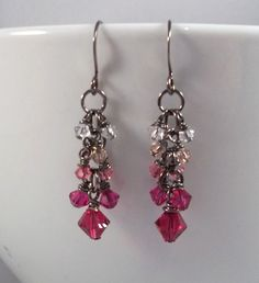 Pink Crystal cluster earrings by TSDesignss on Etsy https://www.etsy.com/listing/245501570/pink-crystal-cluster-earrings