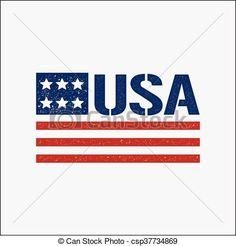 4th of july patriotic flag vintage logo. Vector graphic design - csp37734869
