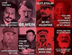 Dictator V Day Cards: Love these! although i wouldn't exactly consider trotsky or marx a dictator. Funny Valentine, Valentine Messages, Valentine Day Cards, Happy Valentines Day, Pinterest Valentines, Valentine Ideas, Fidel Castro, First Love, My Love