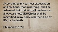 Daily Bible Verse Philippians 1:20