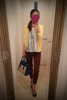 Striped shirt with brown pants and yellow sweater, black heels and beige and navy blue bag - http://ameblo.jp/nyprtkifml