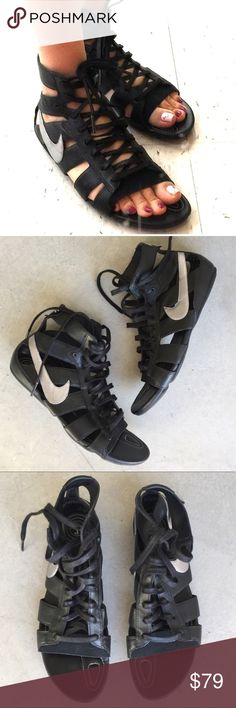 Nike black gladiator sandals Super awesome ,gently worn , size 7.5 , sold out in stores , lace Up closure Nike Shoes