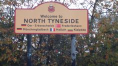 Sign that marks the end of the boundary of Newcastle, into North Tyneside, UK