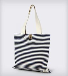 Reversible Burlap Tote Bag: Blue Twill Stripes & Natural Burlap