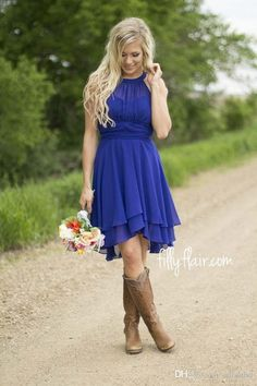 2016 Royal Blue Short Bridesmaid Dresses Halter Neck Flow Chiffon Country Style Ruched High Low