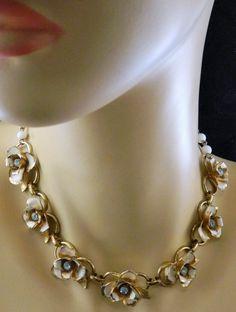Vintage Signed Coro Rose Choker Necklace & Earrings Set Gold Tone Clip Back #Coro