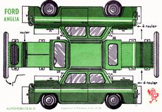 Vintage Ford Anglia Car Paper Model Cut Outs - Digital Download