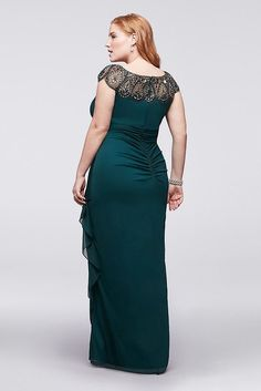 Plus Size Wedding Guest Dress - Mesh Cap Sleeve Plus Size Long Mother of Bride/Groom Dress with Beading Style (sponsored) Plus Size Occasion Dresses, Plus Size Wedding Guest Dresses, Plus Size Maxi Dresses, Plus Size Outfits, Prom Dresses, Summer Dresses, Wedding Dresses, Bride Dresses, Bride Groom Dress