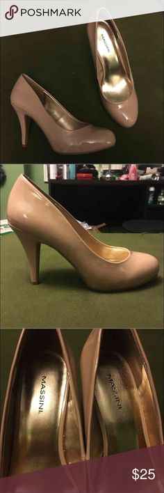 Massini Heels Size: 7 Never worn Beige pinkish color 3 inches Shoes Heels