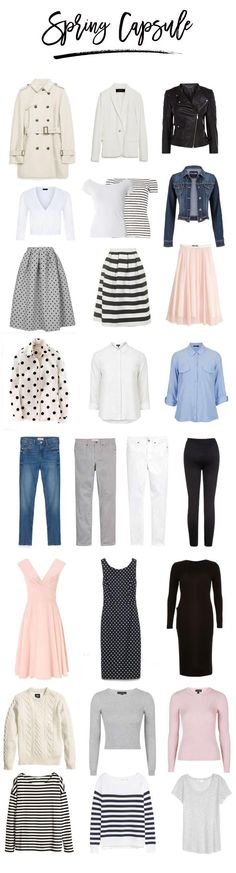sample capsule wardrobe for spring  Love the pink dress!