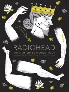 Was amazing to design a poster for a band we love as much as Radiohead. This limited edition print for Radiohead's show in Kansas City is 18x24, 3 colors on black stock. The gold and silver are both metallic. Each poster is signed and numbered in the limited edition. Poster designed by Tad Carpenter.    #poster #design #radiohead