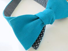 Peacock Teal Bowtie with Navy Polka Dot Reverse by HandsomeAndLace, $58.00