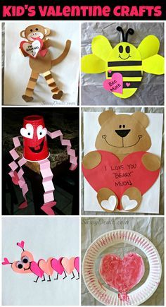 Tons of Valentines day crafts for kids! #DIY #Valentine art projects (Bears, bees, monkeys, caterpillars, ladybugs, dogs, owls, fish and more!) | CraftyMorning.com