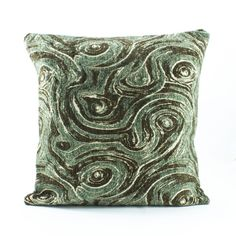 Sea green Euro Sham 24x24, Chenille Pillow cover, Cream Brown accent, Velvet…