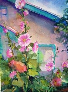 """Hollyhocks (2) by Laurie Johnson Watercolor ~ 12"""" x 9"""""""