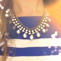 Blue stripes with shiny necklace.