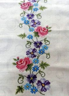 The most beautiful cross-stitch pattern - Knitting, Crochet Love Cross Stitch Letters, Cross Stitch Borders, Cross Stitch Rose, Cross Stitch Samplers, Modern Cross Stitch, Cross Stitch Flowers, Cross Stitching, Embroidery Transfers, Ribbon Embroidery
