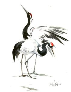 Japanese Crane Original watercolor painting, 14 X 11 in, black white Asian Art, brush Painting, Zen painting by ORIGINALONLY on Etsy