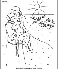 Jesus and the Lost Sheep Coloring Page Kids Korner BibleWise Church Activities, Bible Activities, Sunday School Lessons, Sunday School Crafts, Festa Moana Baby, Sunday School Coloring Pages, The Lost Sheep, Bible Coloring Pages, Coloring Sheets