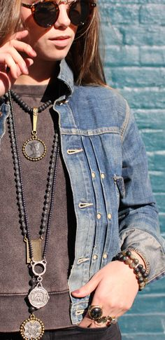 Our Tuileries Collection with black jasper and sterling, labradorite pendants and brass. All french vintage medallions, hand made to order jewelry out of los angeles, CA.